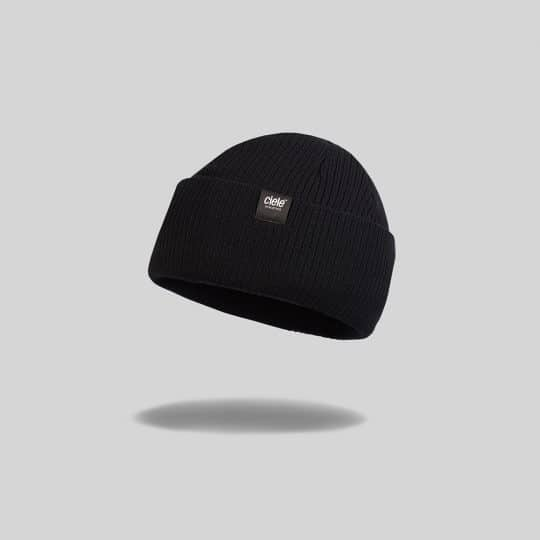 "Black ""shadowcast"" Merino CRW Run Beanie"