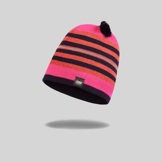 "Pink and Black striped ""Chaka"" Merino TRL Run Beanie"
