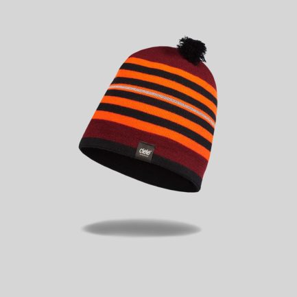 "Red and Black striped ""Red Rocks"" Merino TRL Run Beanie"