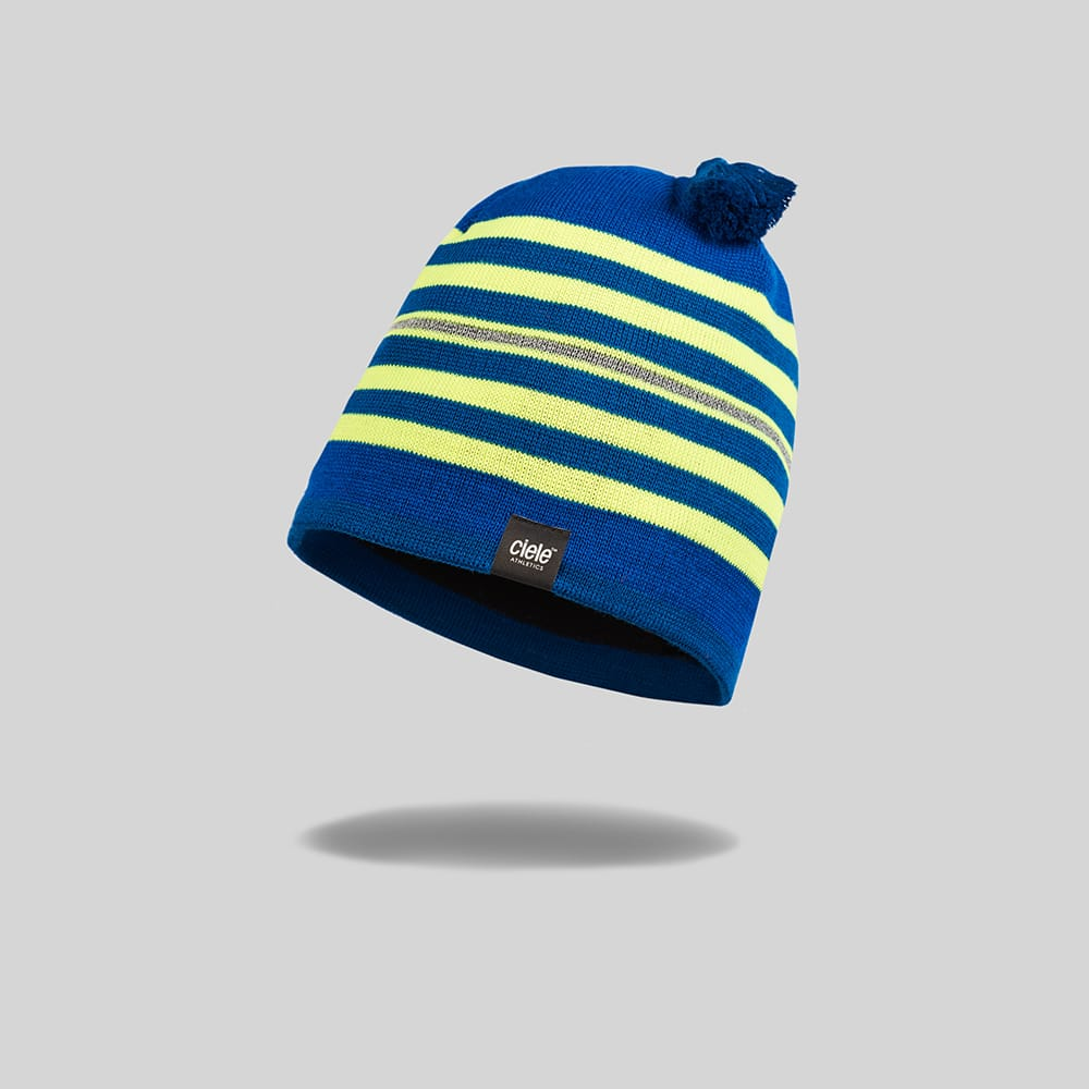 "Green and Yellow striped ""Seawall"" Merino TRL Run Beanie"