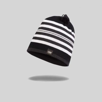 "Black and white striped ""whitaker"" Merino TRL Run Beanie"
